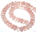 1 Strand of Rose Quartz 12x8mm Puff Rondelle Semiprecious Gemstone Beads