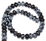 1 Strand of Snowflake Obsidian 12x8mm Puff Rondelle Semiprecious Gemstone Beads
