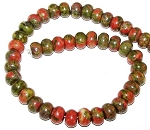 1 Strand of Unakite 12x8mm Puff Rondelle Semiprecious Gemstone Beads