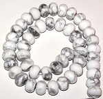 1 Strand of White Howlite 12x8mm Puff Rondelle Semiprecious Gemstone Beads
