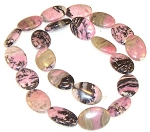 6 - 13x18mm Puff Oval Semiprecious Gemstone Beads - Rhodonite