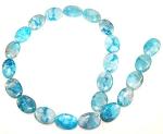 6 - 13x18mm Puff Oval Semiprecious Gemstone Beads - Blue Crazy Lace Agate