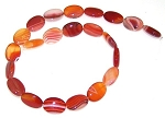 6 - 13x18mm Puff Oval Semiprecious Gemstone Beads - Red Orange Sardonyx