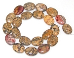 6 - 13x18mm Puff Oval Semiprecious Gemstone Beads - Leopardskin