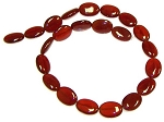 6 - 13x18mm Puff Oval Semiprecious Gemstone Beads - Red Carnelian