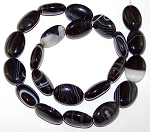 6 - 13x18mm Puff Oval Semiprecious Gemstone Beads - Black Striped Agate