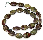 6 - 13x18mm Puff Oval Semiprecious Gemstone Beads - Dragon Blood Jasper