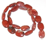 6 - 13x18mm Puff Oval Semiprecious Gemstone Beads - Red Jasper