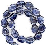 6 - 13x18mm Puff Oval Semiprecious Gemstone Beads - Sodalite