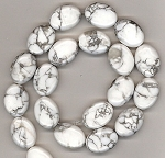 6 - 13x18mm Puff Oval Semiprecious Gemstone Beads - White Howlite