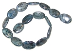 1 Strand of Blue Picasso Jasper 18x25mm Puff Oval Semiprecious Gemstone Beads