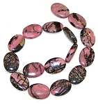 1 Strand of Rhodonite 18x25mm Puff Oval Semiprecious Gemstone Beads