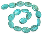 1 Strand of Turquoise Colored Howlite 18x25mm Puff Oval Semiprecious Gemstone Beads