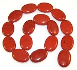 1 Strand of Red Jasper 18x25mm Puff Oval Semiprecious Gemstone Beads