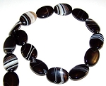 1 Strand of Black Striped Agate 18x25mm Puff Oval Semiprecious Gemstone Beads