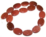 1 Strand of Goldstone 18x25mm Puff Oval Semiprecious Gemstone Beads