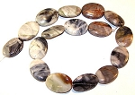 2 Picasso Jasper 18x25mm Puff Oval Semiprecious Gemstone Beads