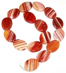 1 Strand of Red Orange Sardonyx 18x25mm Puff Oval Semiprecious Gemstone Beads