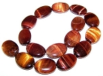 2 Red Tiger Eye 18x25mm Puff Oval Semiprecious Gemstone Beads