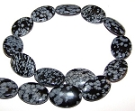 1 Strand of Snowflake Obsidian 18x25mm Puff Oval Semiprecious Gemstone Beads