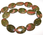 1 Strand of Unakite 18x25mm Puff Oval Semiprecious Gemstone Beads