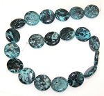 1 Strand of Blue Picasso Jasper 20mm Puff Coin Semiprecious Gemstone Beads