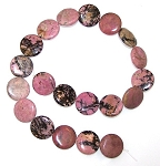 1 Strand of Rhodonite 20mm Puff Coin Semiprecious Gemstone Beads