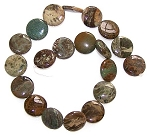 2 Snakeskin Jasper 20mm Puff Coin Semiprecious Gemstone Beads