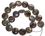 2 Dragon Blood Jasper 20mm Puff Coin Semiprecious Gemstone Beads
