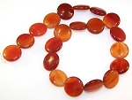 1 Strand of Carnelian 20mm Puff Coin Semiprecious Gemstone Beads
