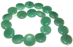 1 Strand of Aventurine 20mm Puff Coin Semiprecious Gemstone Beads