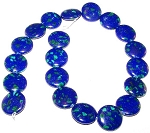 1 Strand of Azurite 20mm Puff Coin Semiprecious Gemstone Beads