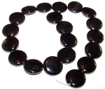 1 Strand of Black Onyx 20mm Puff Coin Semiprecious Gemstone Beads
