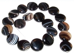 1 Strand of Black Sardonyx 20mm Puff Coin Semiprecious Gemstone Beads