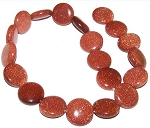 1 Strand of Goldstone 20mm Puff Coin Semiprecious Gemstone Beads