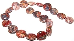 1 Strand of Leopardskin Jasper 20mm Puff Coin Semiprecious Gemstone Beads