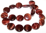 1 Strand of Red Tiger Eye 20mm Puff Coin Semiprecious Gemstone Beads
