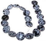 1 Strand of Snowflake Obsidian 20mm Puff Coin Semiprecious Gemstone Beads