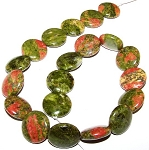 1 Strand of Unakite 20mm Puff Coin Semiprecious Gemstone Beads