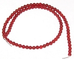 1 Strand of 4mm Round Semiprecious Gemstone Beads - Red Carnelian
