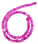 1 Dozen 6mm Round Semiprecious Gemstone Beads - Pink Crazy Lace Agate