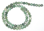 1 Dozen 6mm Round Semiprecious Gemstone Beads - Qinghai Jade
