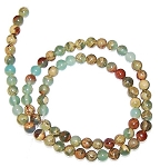 1 Strand of 6mm Round Semiprecious Gemstone Beads - Aqua Terra Jasper