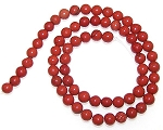 1 Dozen 6mm Round Semiprecious Gemstone Beads - Red Jasper