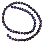 1 Dozen 6mm Round Semiprecious Gemstone Beads - Blue Goldstone