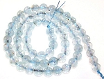 1 Dozen 6mm Round Semiprecious Gemstone Beads - Aquamarine