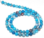 1 Dozen 6mm Round Semiprecious Gemstone Beads - Blue Crazy Lace Agate