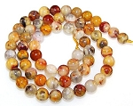 1 Dozen 6mm Round Semiprecious Gemstone Beads - Crazy Lace Agate