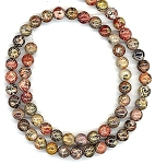 1 Dozen 6mm Round Semiprecious Gemstone Beads - Leopardskin Jasper