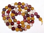 1 Strand of 6mm Round Semiprecious Gemstone Beads - Moukaite Jasper